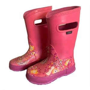 """Bogs """"Forest"""" Pink Rain Boots - Toddler's Size 9"""